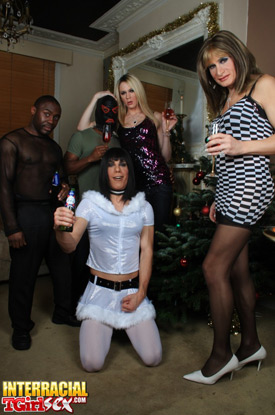 British Tgirls Celebrate Christmas on Interracial Tgirl Sex!