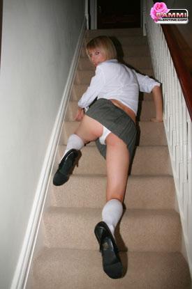 t sammi valentine plugged 02 British Tgirl Sammi Valentines Stairway Stroke!