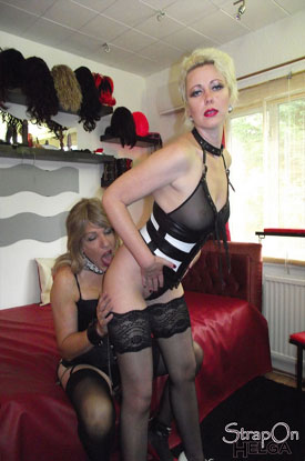 Strap-On Helga and a British Tgirl!