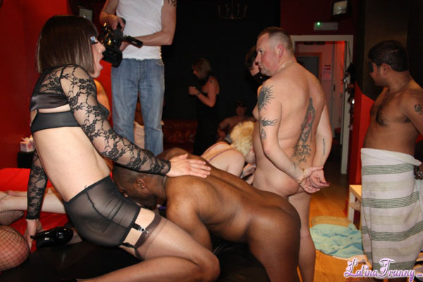 British Tgirl Gangbang on Latina Tranny!