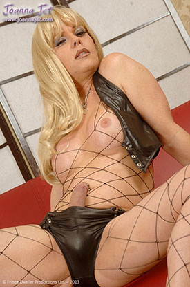t british tgirls joanna jet fishnets 02 British Tgirl Joanna Jet Stroking Her Shemale Cock In Fishnets!