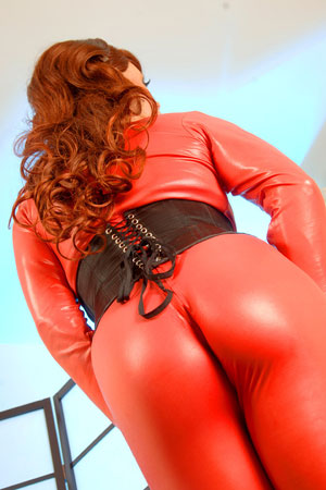 t joanna jet red catsuit 01 British Tgirl Joanna Jet And Her Red Catsuit!