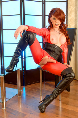 t joanna jet red catsuit 02 British Tgirl Joanna Jet And Her Red Catsuit!